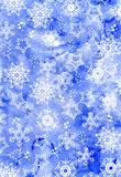 Watercolor painted snowflakes Happy New Year background, cute il Royalty Free Stock Photos