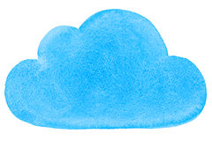 Watercolor Painted Social Networking Cloud Blue vector illustration