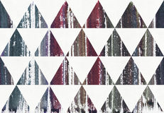 Watercolor painted striped purple, blue and cyan splatter colors in triangles, raster illustration. Seamless, dark. Royalty Free Stock Photos