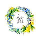Watercolor painted summer wreath. Watercolor summer wreath with flowers and leaves  on white background Royalty Free Stock Images