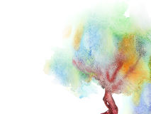 Watercolor painted tree Stock Photo