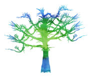 Watercolor painted tree Royalty Free Stock Photography