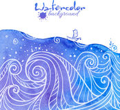 Watercolor painted waves with little boat royalty free illustration