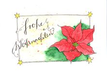 Watercolor painting Christmas card with poinsettia flower and german text: Frohe Weihnachten. Watercolor painting artistic Christmas card with poinsettia flower Stock Images