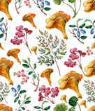 Watercolor painting aurumn pattern. Stock Photography