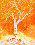 Watercolor painting with autumn birch tree and rain Stock Images