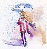 Watercolor Painting. Autumn Girl in the Rain. Royalty Free Stock Image
