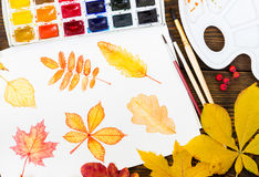 Watercolor painting with autumn leaves, paint, brushes, palette Royalty Free Stock Photos