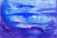 Watercolor painting background. Abstract blue and purple watercolor painting background Stock Images
