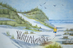 Watercolor painting of a beach Royalty Free Stock Photo