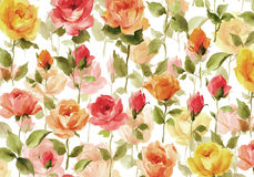 Watercolor painting of beautiful flower wallpaper. Full bloom roses and buds in an elegant seamless pattern Stock Photo