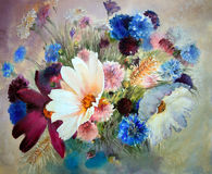 Watercolor painting of beautiful flowers. Stock Photography