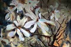 Watercolor painting of beautiful flowers. Royalty Free Stock Photo