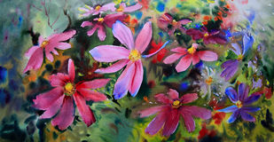 Watercolor painting of beautiful flowers. Stock Image