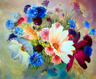 Watercolor painting of beautiful flowers Stock Photography