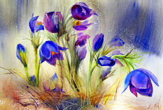 Watercolor painting of beautiful flowers Royalty Free Stock Photos