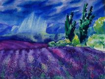 Watercolor painting with beautiful landscape. Typical lavender fields in rainy day. stock illustration