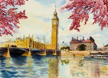 Watercolor painting Big Ben Clock Tower and thames river. Autumn trees, Big Ben Clock Tower and thames river in London at England. Watercolor painting royalty free illustration