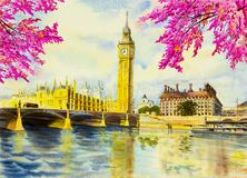 Watercolor painting Big Ben Clock Tower and thames river Royalty Free Stock Photo