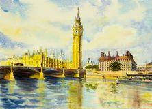 Watercolor painting Big Ben Clock Tower and thames river Royalty Free Stock Images