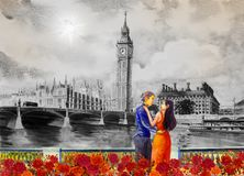 Watercolor painting Big Ben Clock Tower and thames river Stock Images