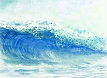 Watercolor painting big sea wave of storm. Watercolor painting big sea wave of storm waves in the sea, background emotions are sprayed in the sky. Hand painted vector illustration