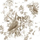 Watercolor painting with birds and flowers, seamless pattern on white background. Royalty Free Stock Photos