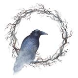 Watercolor raven on a wreath of bare branches. Watercolor painting of a black raven sitting inside a wreath of bare branches Royalty Free Stock Photo