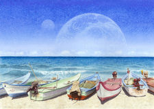 Watercolor painting of boats on the beach in unreal world Royalty Free Stock Photos