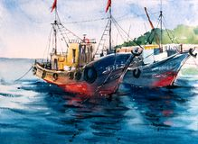Watercolor Painting - Boats stock illustration