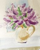 Still life with bouquet of lilac royalty free stock images