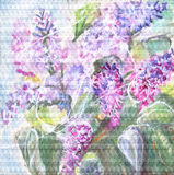 Watercolor painting. A bouquet of lilacs. Royalty Free Stock Photo
