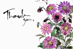 Watercolor painting bouquets Flower Dahlia purple. On a white background.Space to put text Stock Images