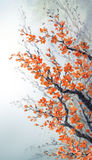 Watercolor painting. Branches of blossoms cherry Royalty Free Stock Photos
