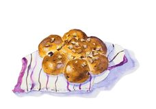 Watercolor painting of bread vector illustration