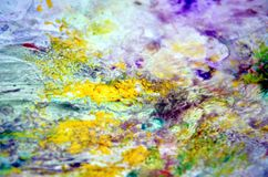 Blue red violet yellow spots pastel colors, bright pastel paint acrylic watercolor background, colorful texture. Watercolor painting bright fluid spots abstract royalty free stock photo