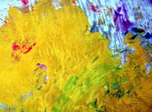 Yellow blue golden spots pastel colors, bright pastel paint acrylic watercolor background, colorful texture. Watercolor painting bright fluid spots abstract stock image
