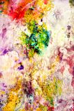 Yellow red violet orange dark spots pastel colors, bright pastel paint acrylic watercolor background, colorful texture. Watercolor painting bright fluid spots royalty free stock photo