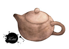 Watercolor painting of brown kettle Stock Photos