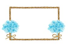 Watercolor painting of Brown Rope frame with bouquet of blue flowers.
