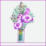 Watercolor painting bunch of flowers in a glass. Vector illustration. Gray background with polka dots Stock Photography