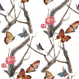Watercolor painting  butterfly and flowers, seamless pattern on white background Stock Images