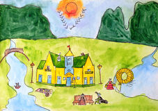 Watercolor painting. Cat's House. Fairy tale Royalty Free Stock Image