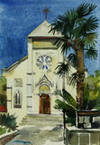 Watercolor painting of catholic church in Yalta, Ukraine Stock Images