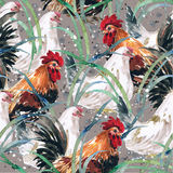 Watercolor painting chicken Animal Annual 2560/2017 Seamless design pattern. Is a natural markings Stock Illustration