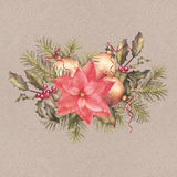 Watercolor Painting Christmas Decorations Stock Images
