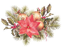 Watercolor Painting Christmas Decorations Stock Photo