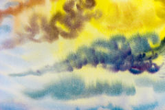 Watercolor painting cloud, sky colorful of raincloud in air. Royalty Free Stock Photos