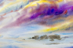 Watercolor painting cloud, sky colorful of raincloud in air. Stock Photography