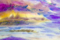 Watercolor painting cloud, sky colorful of raincloud in air. Royalty Free Stock Photo